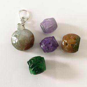 VINTAGE JADE mini turtle sterling silver pendant